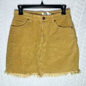 MinkPink Denim Corduroy Skirt High Waist Tan - S